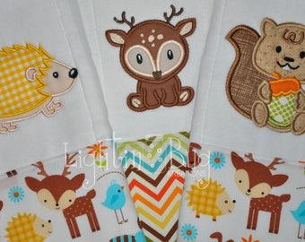 Monogram Forest Animal Burp Rag Set