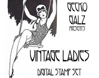 Vintage Ladies Digital Stamp Set