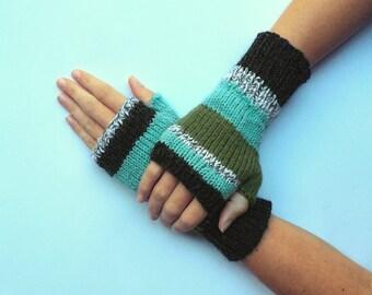 Knit fingerless gloves arm warmers fingerless mittens knit wrist warmers hand warmers striped sea green grey