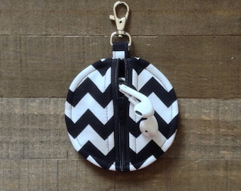Black and White Chevron Circle Zip Earbud Pouch / Coin Purse