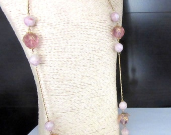 Extra Long Necklace Pink Faceted Lucite Beads 33 Inches Goldtone Metal Strung