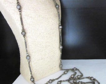 Extra Long Industrial Necklace Pewter Tone Metal Beads Steampunk Single Strand 54 Inches