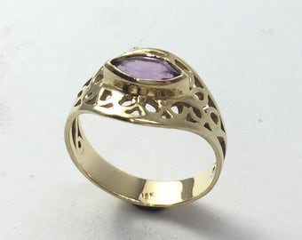 Unique Amethyst Ring, Personalized February Birthstone Ring, Unique 14K Gold Ring, Marquise Engagement Ring, Delicate Engagement Ring