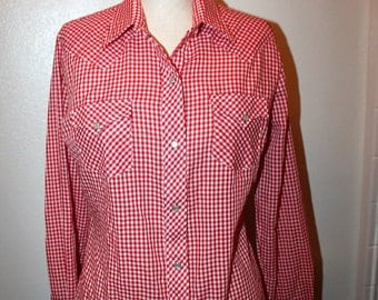 Vintage Miller 1970's Red and White Gingham Check Women's Western Shirt With Pearl Snaps Sz 14