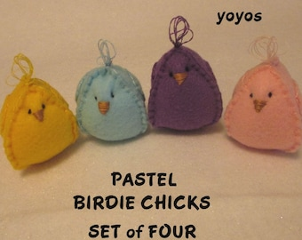PASTEL FELT, BIRDIES,  Set of Four,  Chicks,  Easter,  Spring,  Holiday Decor,  Home Décor, Table Decor, Hostess Gift, Birthday, Shower
