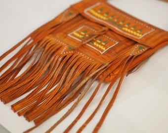 Burnt Orange Moroccan small leather fold over hand made traditional boho purse satchel saddle festivle fringe cross body bag