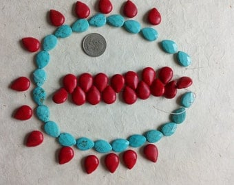 lot no:4- 16 mm tear drop Turquoise and Coral colors-stones at cheap price, left over of past collections.