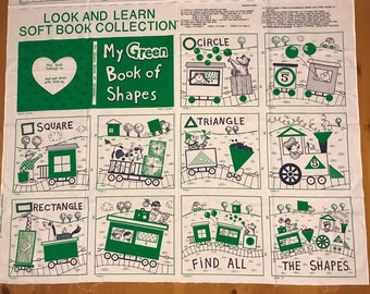 "A ""My Green Book of Shapes"" Fabric Book Panel"