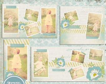 ON SALE Accordion Book Template - 4 x 8 inches - Templates for Photographers , PSD Files - Instant Download