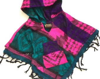 Baby Poncho - pink and purple aztec