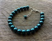 Teal Pearl Bracelet Blue Bridal Bracelet One Single Strand Simple Pearl Bracelet on Silver or Gold Chain
