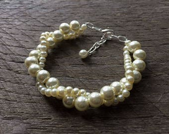 Yellow Ivory Pearl Bracelet Bridal Bracelet Twisted Clusters on Silver or Gold Chain