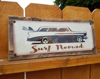 "Recycled wood framed ""Surf Nomad"" metal street sign"