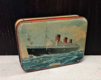 Vintage RMS Queen Mary Ocean Liner Tin Box, Cunard Cruise Line, SHABBY Box, c 1950s, Royal Ship Boat, Bensons Candy Tin