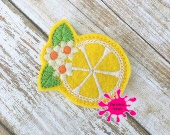 UNCUT Lemon,  embroidered felt embellishment felties (set of 4)
