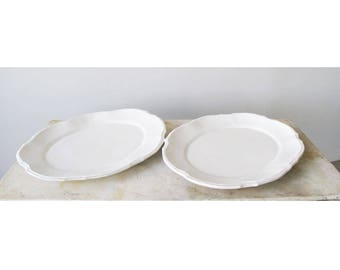 Pair of Beautiful White Earthenware Pie Cut Platters with Feathered Edge