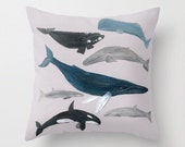 Whale Throw Pillow Cover, whale pillow, nautical throw, nautical pillow, whale throw pillow, whale pillow cover, beach house pillow