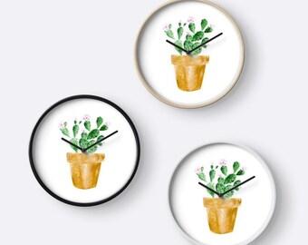 Cactus Wall Clock, modern wall clock, succulent clock, white wall clock, minimalist clock, gold cactus clock, gold white clock