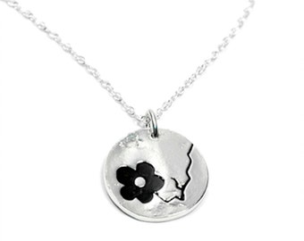 Black Cherry Blossom necklace. Sterling silver.