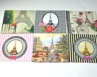 6 Eiffel Tower Paper Napkins for Decoupage, Mixed Media, Collage, Scrapbooking, Paris  Decoupage Paper, French Style Paper for Decoupage