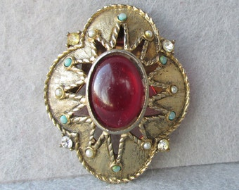 1950's Vintage Ruby Glass, Faux Pearl & Turquoise Etruscan Dress Clip Pin