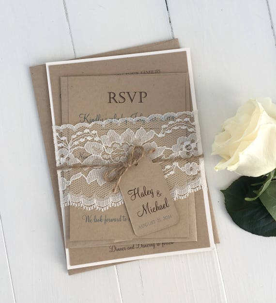 Diy Wedding Invitations Kits: DIY Rustic Wedding Invitation Kit Eco Kraft And Rustic Lace
