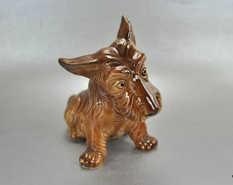 Marutomoware Brown Scottish Terrier Scotty Dog Figurine Vintage Japan Puppy