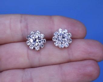 Rhinestone Stud Earrings, Bridal Earrings, Wedding Earrings, Swarovski Crystal Earrings, Bridesmaids gift, Bridesmaid, Cluster flower