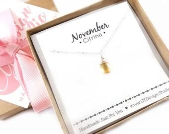 Citrine Necklace - November Birthstone - Dainty Drop Necklace - Sterling Silver Necklace - Gemstone Briolette Necklace - Gift for Her