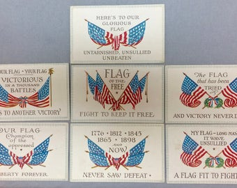 Vintage NOS Postcards American Flag 7 Different Kinds 1920's