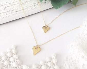 Mommy and me necklace, mother daughter necklaces, Gold Heart Necklace, heart necklace, dainty necklace, necklace set, child necklace