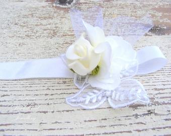 Romantic bridal cuff bracelet, bridal corsage, girl bracelet, flower bracelet,  rose corsage, wedding flower crown accessories