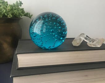 vintage aqua blue controlled bubble sphere paper weight orb
