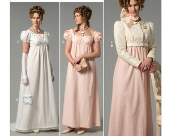 Butterick B6074 Misses' Empire Waist Dresses, Jacket, Purse and Hat Trim Historical Costume Sewing Pattern