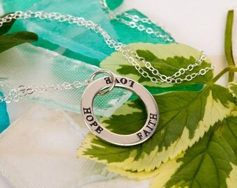 Faith, Love, Hope Round Eternity Circle Pendant Necklace Layering Piece Gift Wrapped