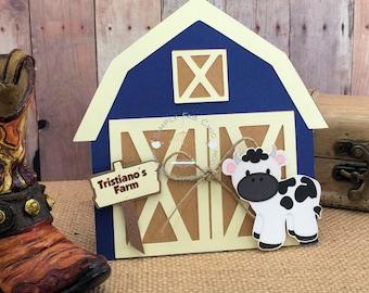 Farm Barn Birthday Invitations | Barn Invite | Farm Animals Party | Cow Invitation (Minimum Set of 10) | Blue Far Barn | Pink Farm Barn