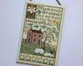 Completed Primitive cross stitch March Flat Wall hanger, Spring decoration, The Prairie Schooler
