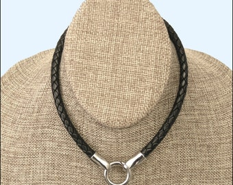 The Essential Multipurpose Leather Necklace with All Stainless Steel Connectors For Attaching Pendants, Art, Stones, Sculptures, Stuff, etc.