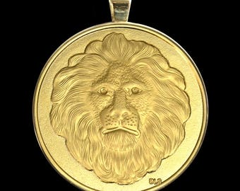Great Spirit Lion of Kuramongo Village Gold Finish Medallion In Gold Plated Pendant Setting - Gift Boxed