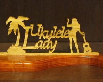 Ukulele Lady Wood Tabletop Sign Padauk Ocean Cut Base