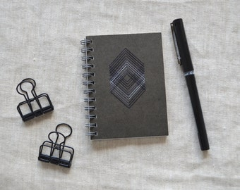 Geometric Mini Notebook - Hand Embroidered