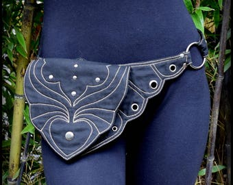 Utility Belt Bag in Black, White, Purple Vegan Canvas ~ Burning Man Festival Utility Belt ~ Hip Belt, Fanny Pack, Steampunk Renaissance Belt