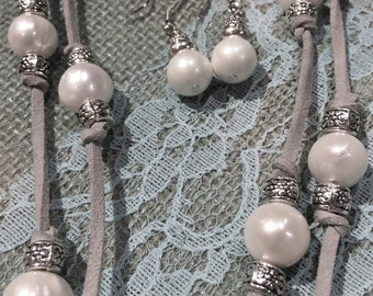 Freshwater Pearl/Suede Double Wrap Necklace/Earring Set vintage metallics