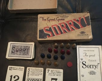 Vintage 1940s Sorry Board Game