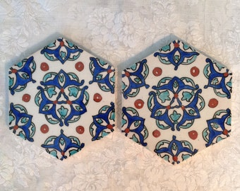Pair of glazed pottery tile hexagonal hand painted decorative accent Portuguese Spanish Mediterranean Aqua cobalt blue white supply craft
