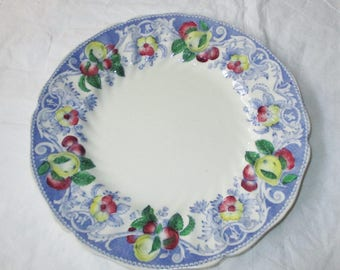 """Royal Doulton England POMEROY 8.5"""" Salad Plate, Blue Rim, Red Yellow Fruits Flow (1934 D-mark)"""