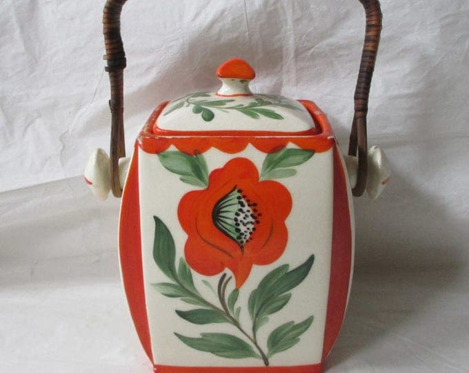 "Erphila Art Pottery 7.5"" Biscuit Jar with Lid & Handle, POPPY, Czecho Slovakia (c. 1920s)"