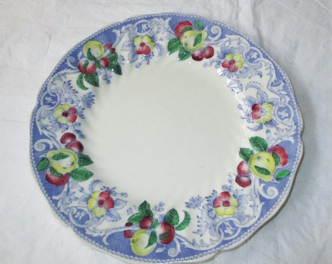 "Royal Doulton England POMEROY 8.5"" Salad Plate, Blue Rim, Red Yellow Fruits Flow (1934 D-mark)"