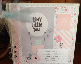 Completed scrapbook album- Tiny Little You Baby Girl Chipboard Book