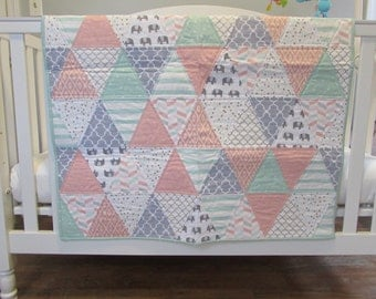 Baby Crib Play Quilt in Mint, Blush Pink, Gold, Elephants